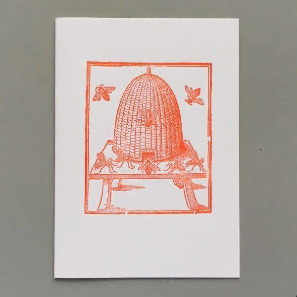 Tarjeta de tipografía hecha a mano de la colmena