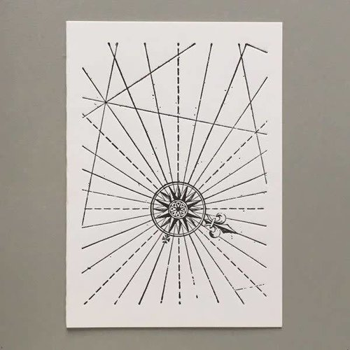Keyhole Collection Compas Hand gestaltete Buchdruck-Karte