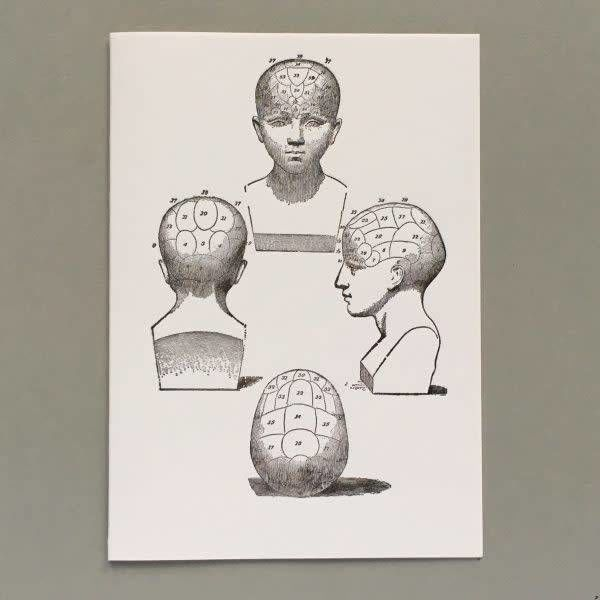 Phrenology heads  hand crafted letterpress card