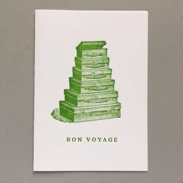 Bon Voyage  hand crafted letterpress card