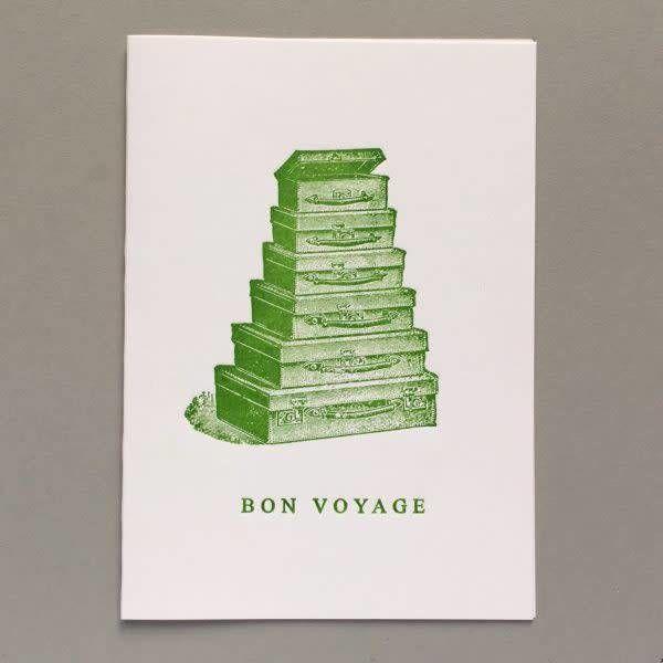Tarjeta de tipografía hecha a mano Bon Voyage