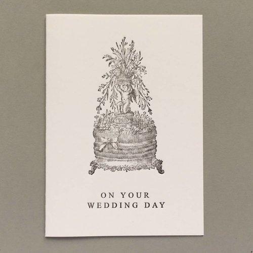 Keyhole Collection Handgemachtes Buchdruckkarten-Rosa des Hochzeitstag-Kuchens
