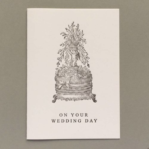 Keyhole Collection Wedding Day Cake hand crafted letterpress card pink