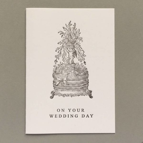 Wedding Day Cake hand crafted letterpress card pink