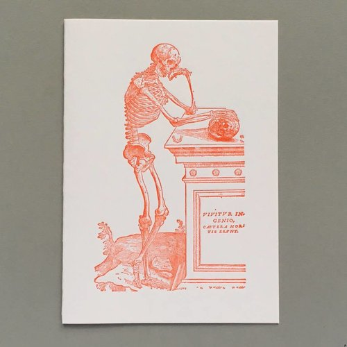Keyhole Collection Skeleton contemplating a scull hand crafted letterpress card