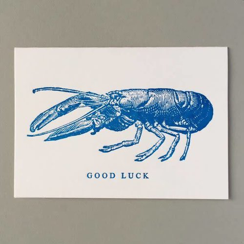Keyhole Collection Tarjeta de letterpress hecha a mano de buena suerte de langosta