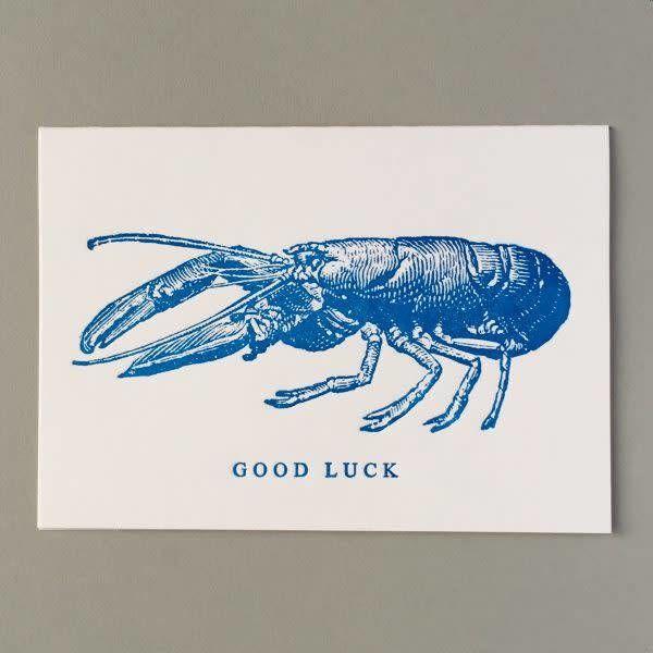 Tarjeta de letterpress hecha a mano de buena suerte de langosta