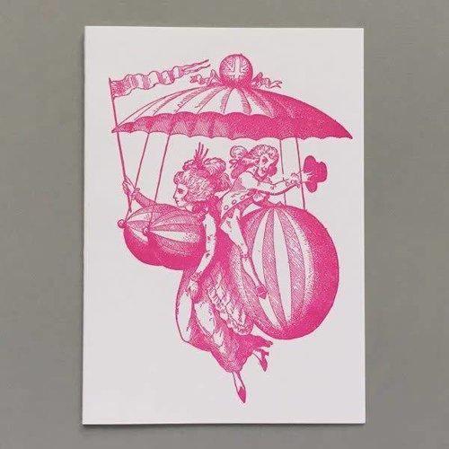 Keyhole Collection Globo vestido mano hecha a mano tarjeta de tipografía