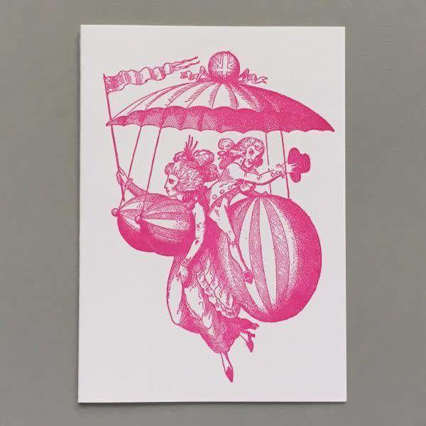 Ballon-Kleid handgefertigte Buchdruck-Karte