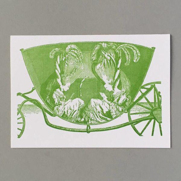 Damen in einer Carriage Hand gestaltete Buchdruck-Karte