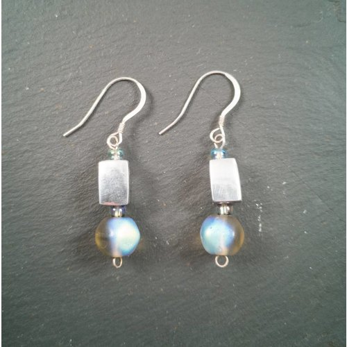 Sara Withers Gem and Greek silver earrings