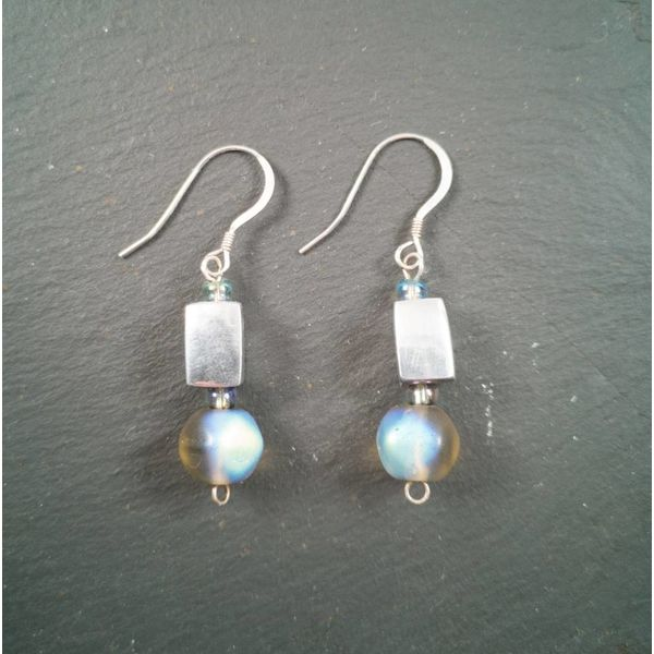 Gem and Greek silver earrings