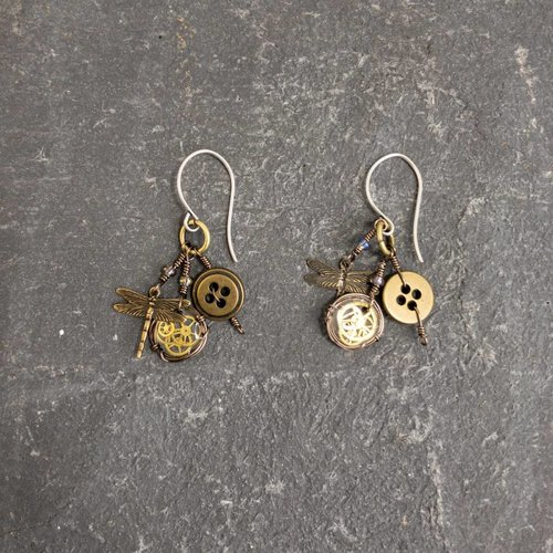 Sara Withers Magpie trinket dragonfly earrings