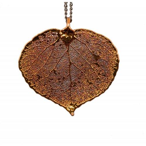 Forever Leaves Aspen copper pendant