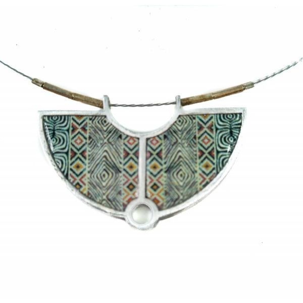 Semi-circle printed ceramic with frame necklace 23