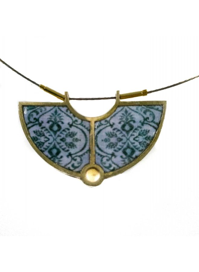 Necklace - semi circle brass grey