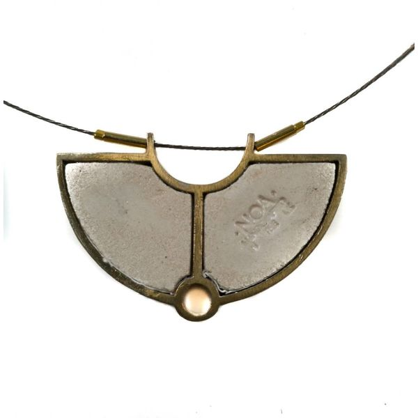 Necklace - semi circle brass grey