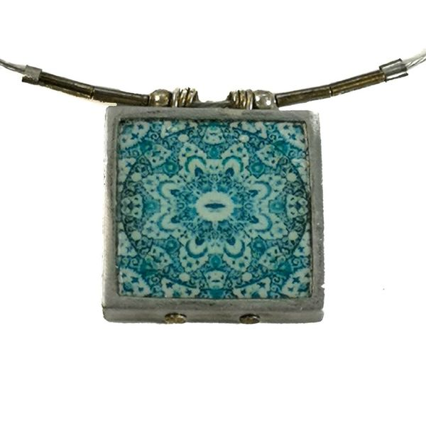 Mandala square printed ceramic with frame necklace 0013