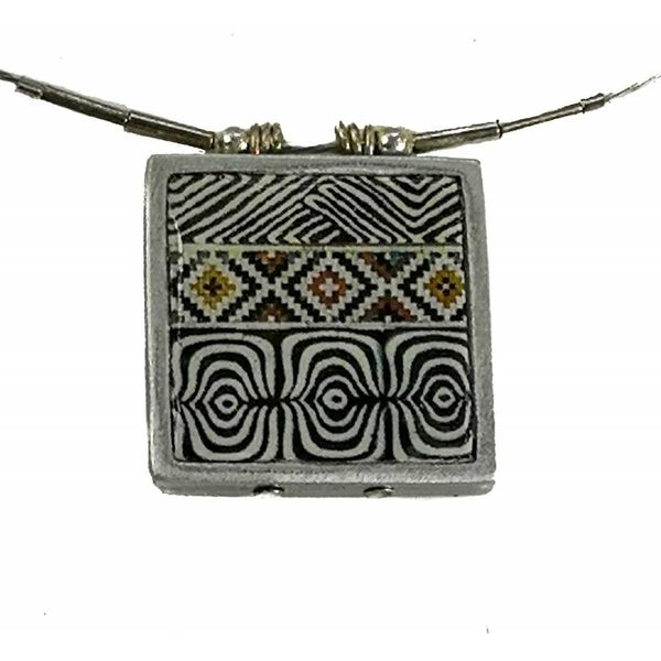 Pattern  square printed ceramic with frame necklace 0012
