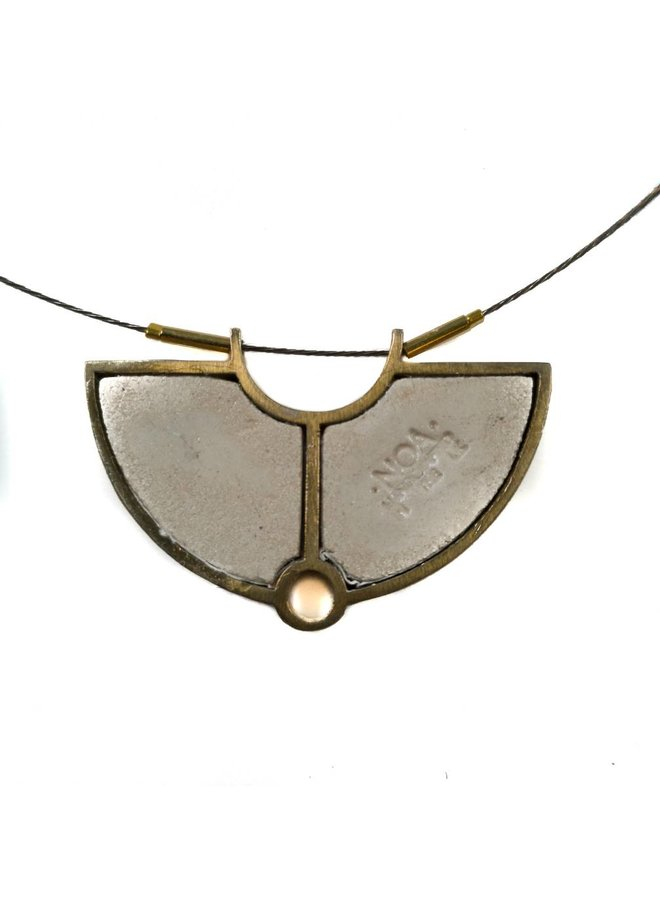 Semi-circle printed ceramic with frame necklace 15