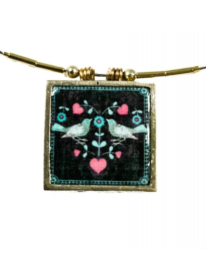 Square printed ceramic with brass frame necklace 05