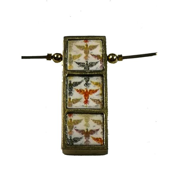 Birds on Long Brass necklace 710