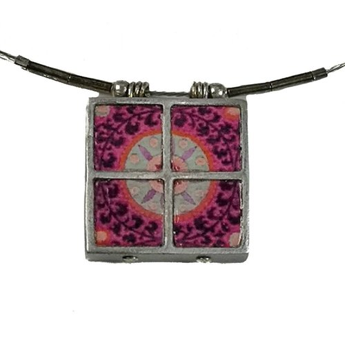 Noa 5 squares printed ceramic with frame necklace 013