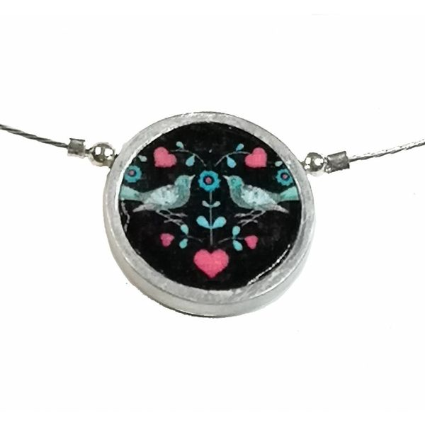 Necklace - round two birds aluminium
