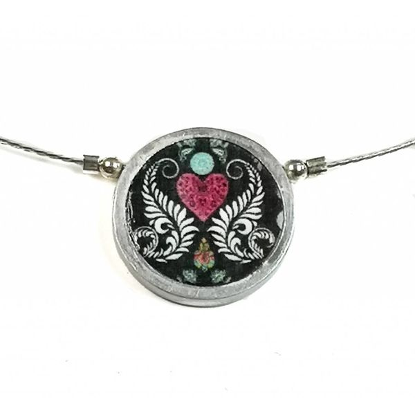 Ferns and heart small round necklace 213