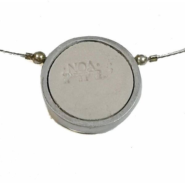 Necklace - round fern aluminium