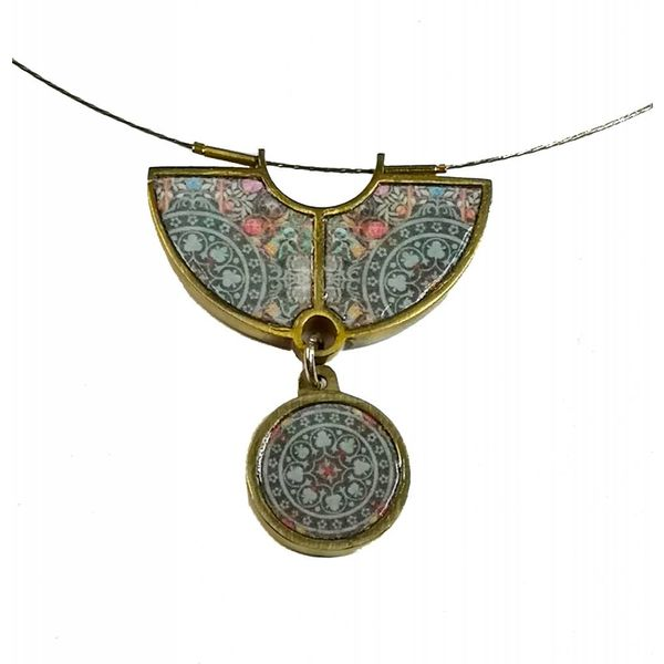 Necklace - semi circle dangly brass