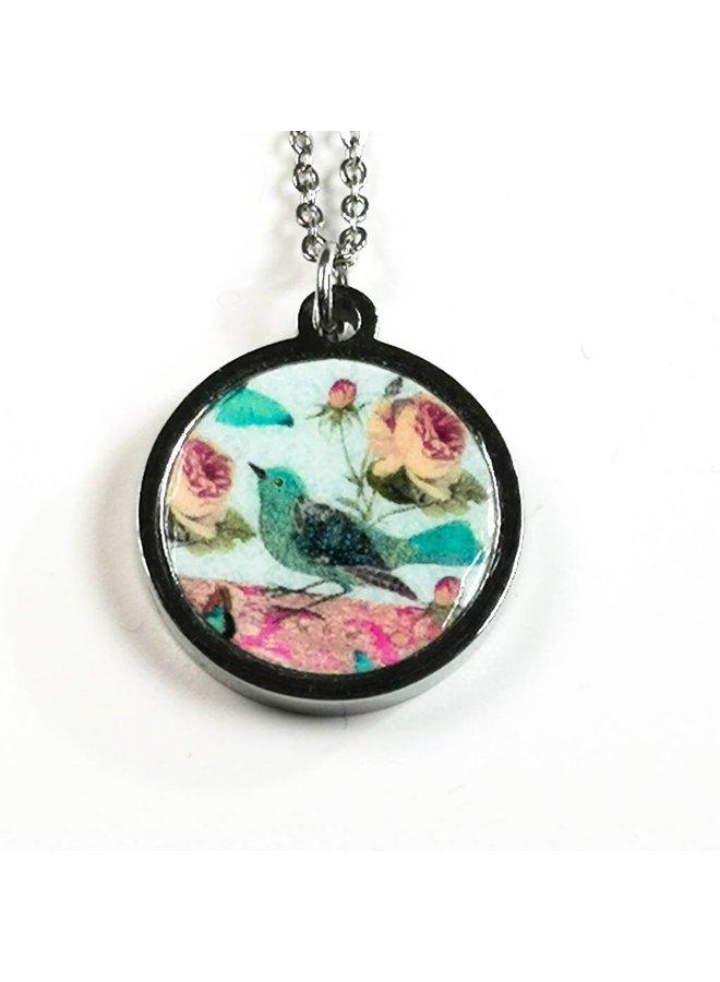 Necklace - round mosaic blue stainless steel & walnut