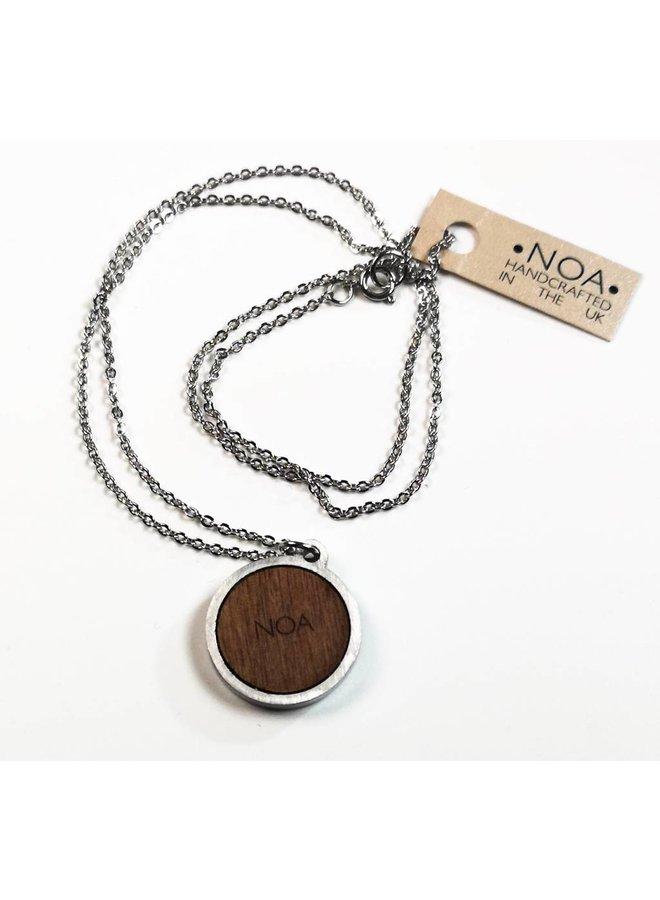 Necklace - round sunburst stainless steel & walnut