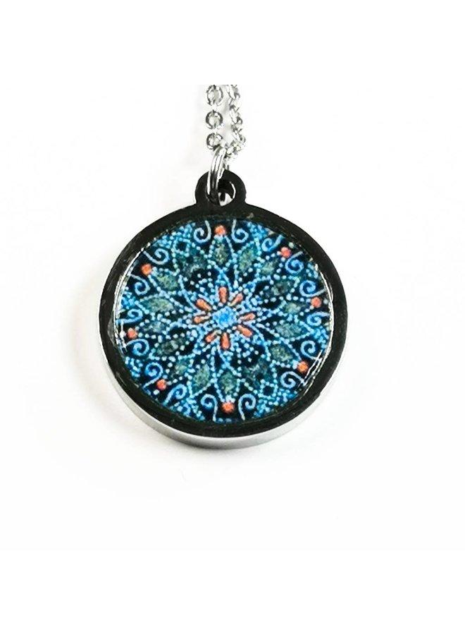 Necklace - round bird & rose stainless steel & walnut
