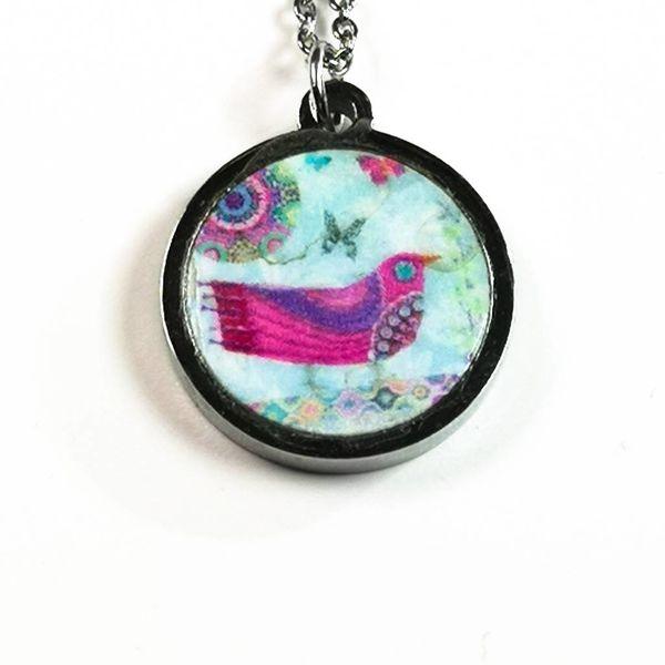 Pink bird round stainless steel & walnut necklace