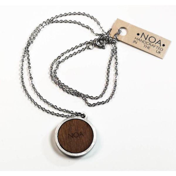 Necklace - round pink bird stainless steel & walnut