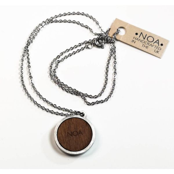 Necklace - round blue stainless steel & walnut