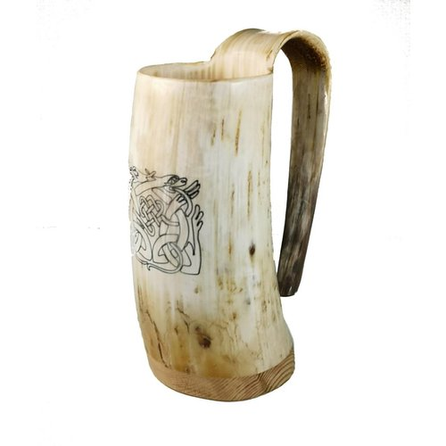 Abbey Horn Drinking Mug oxhorn no.1 with celtic design