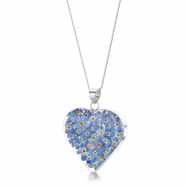 Heart large forgetmenot pendant silver