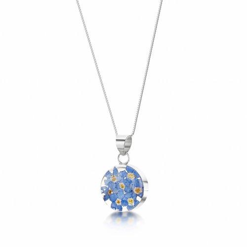 Shrieking Violet Round forgetmenot pendant silver