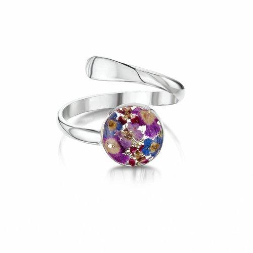 Shrieking Violet Ring gemischte Blume einstellbar Silber