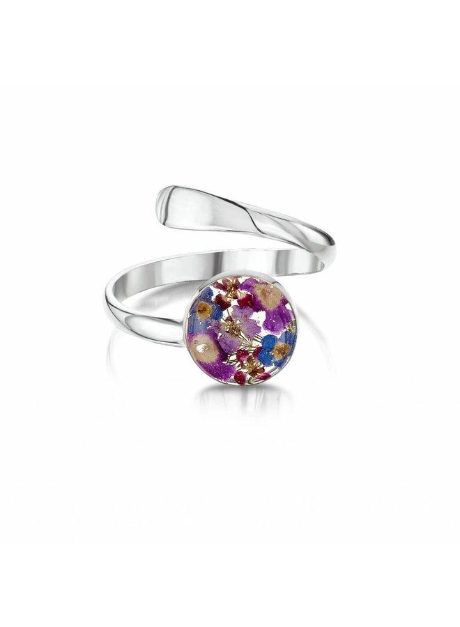 Ring gemischte Blume einstellbar Silber