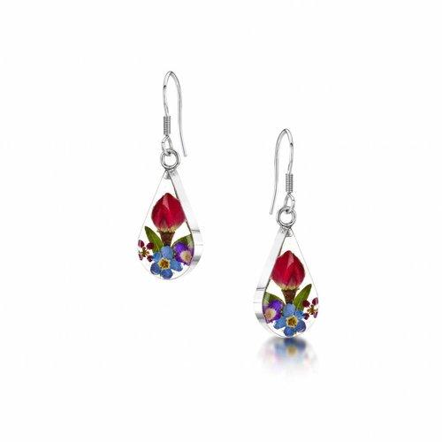 Shrieking Violet Teardrop mixed flower drop earrings silver 91