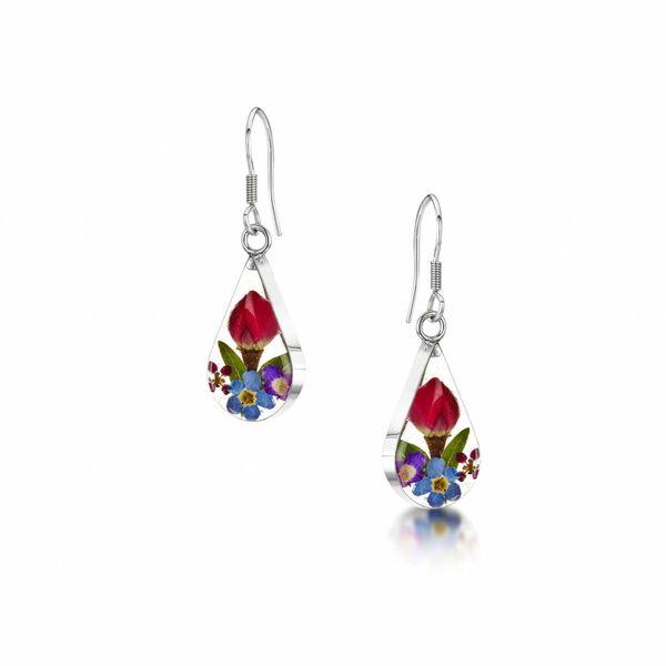 Teardrop mixed flower drop earrings silver 91