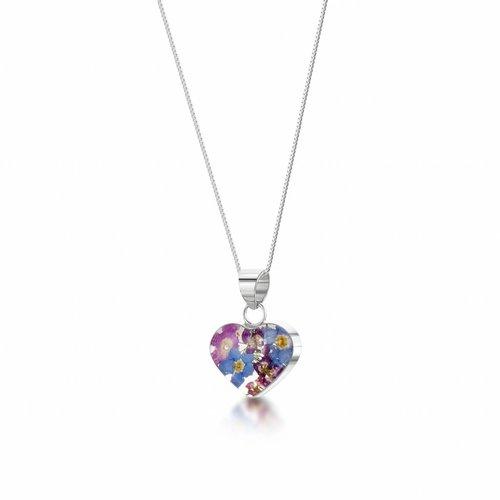 Shrieking Violet Heart small mixed flower silver pendant