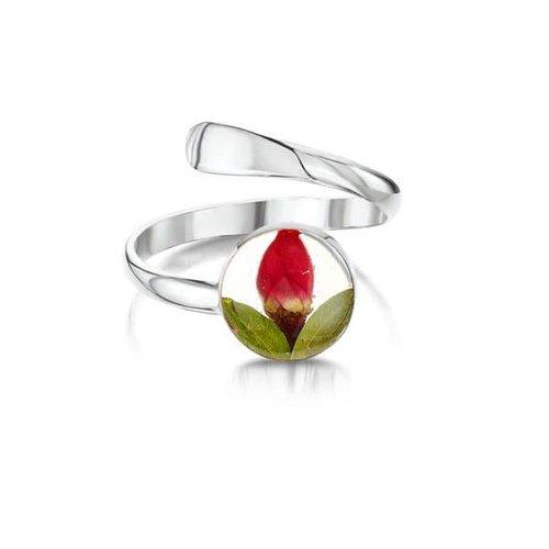Shrieking Violet Ring Adjustable rose bud silver