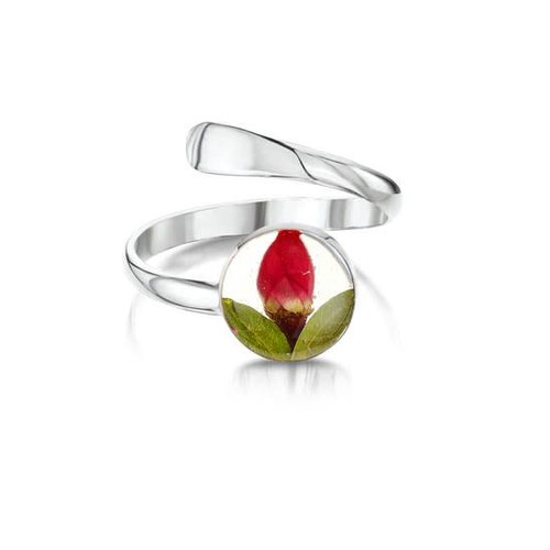 Shrieking Violet Rose Bud adjustable ring with real flowers and slver 01