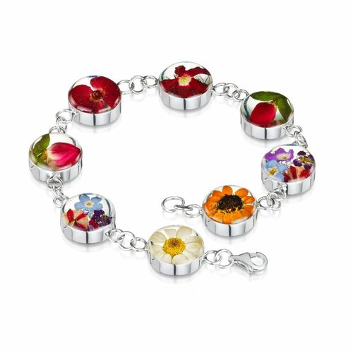 Shrieking Violet Mixed flower large round bracelet silver