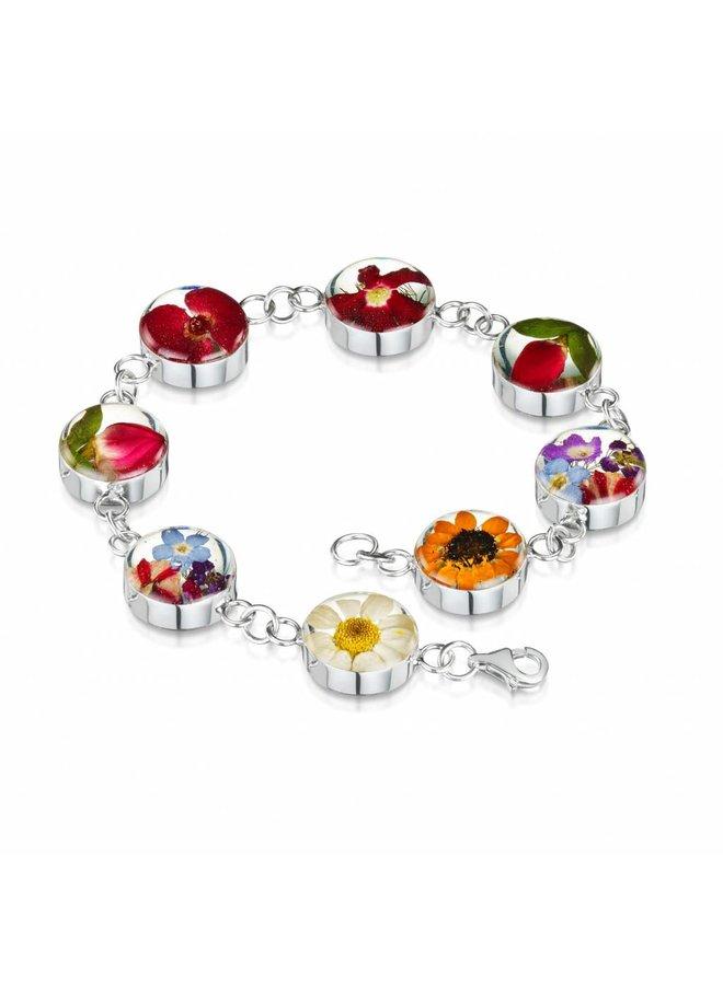 Mischblume großes rundes Armband Silber