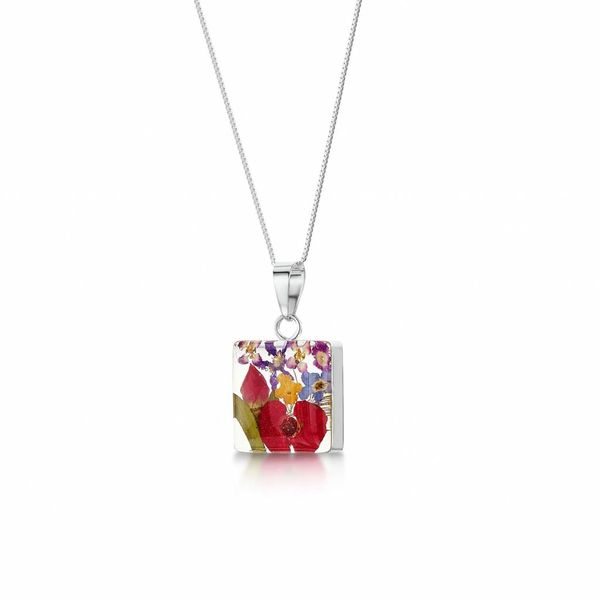Square mixed flower pendant silver 97